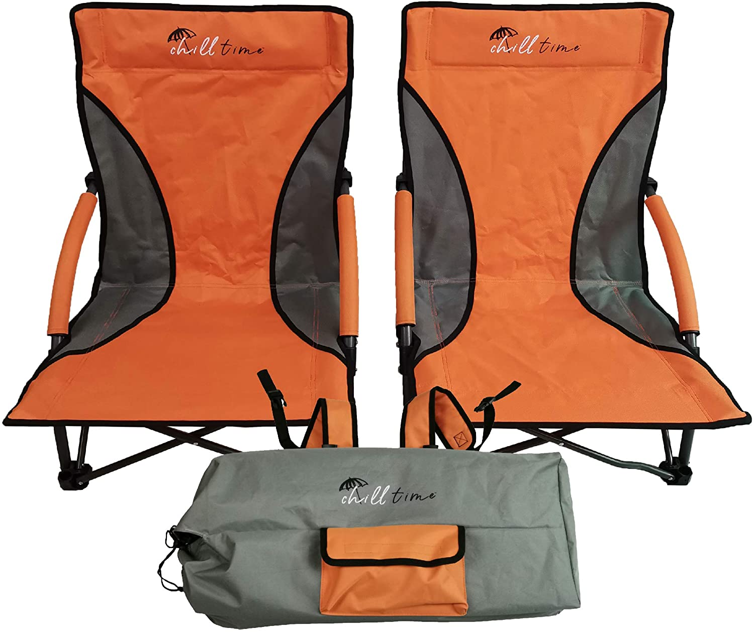 Set of orange chilltime chairs
